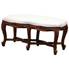 Early 20th Century French Louis XV Carved Walnut two-Seat Bench