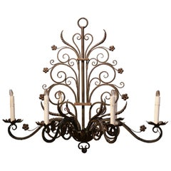 Early 20th Century French Louis XV Six-Light Iron Chandelier