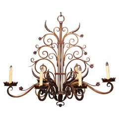 Early 20th Century French Louis XV Six-Light Iron Chandelier with Bronze Finish