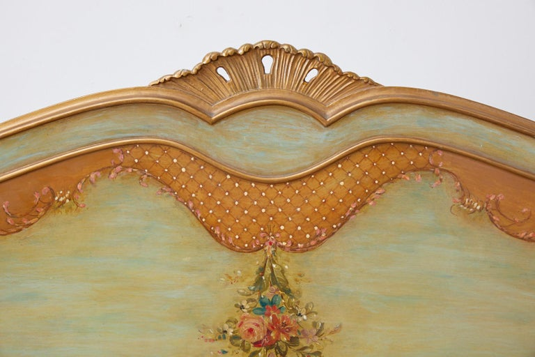 Wood Early 20th Century French Louis XV Style Lacquered Bed