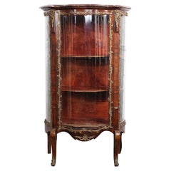 Early 20th Century French Louis XV Style Vitrine with Curved Glass and Marble