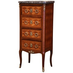 Early 20th Century French Louis XV Walnut Four-Drawer Chest with Marble Top