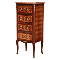 Early 20th Century French Louis XV Walnut Four-Drawer Chest with Red Marble Top