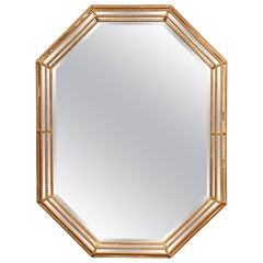 Early 20th Century French Louis XVI Octagonal Carved Gilt Wood Wall Mirror
