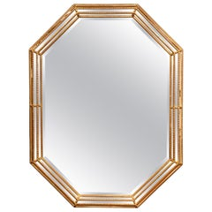 Early 20th Century French Louis XVI Octagonal Carved Giltwood Wall Mirror