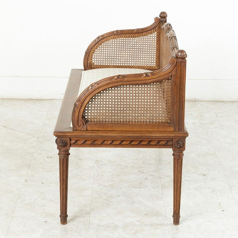 early 20th century french louis xvi style carved oak banquette bench with caning for sale at 1stdibs. Black Bedroom Furniture Sets. Home Design Ideas