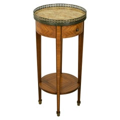 Early 20th Century French Louis XVI Style Rosewood Marquetry Side Table, Marble