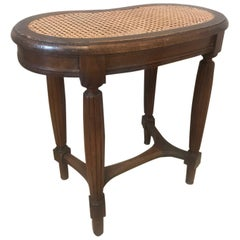 Early 20th Century French Louis XVI Style Walnut and Caned Bench, 1900s