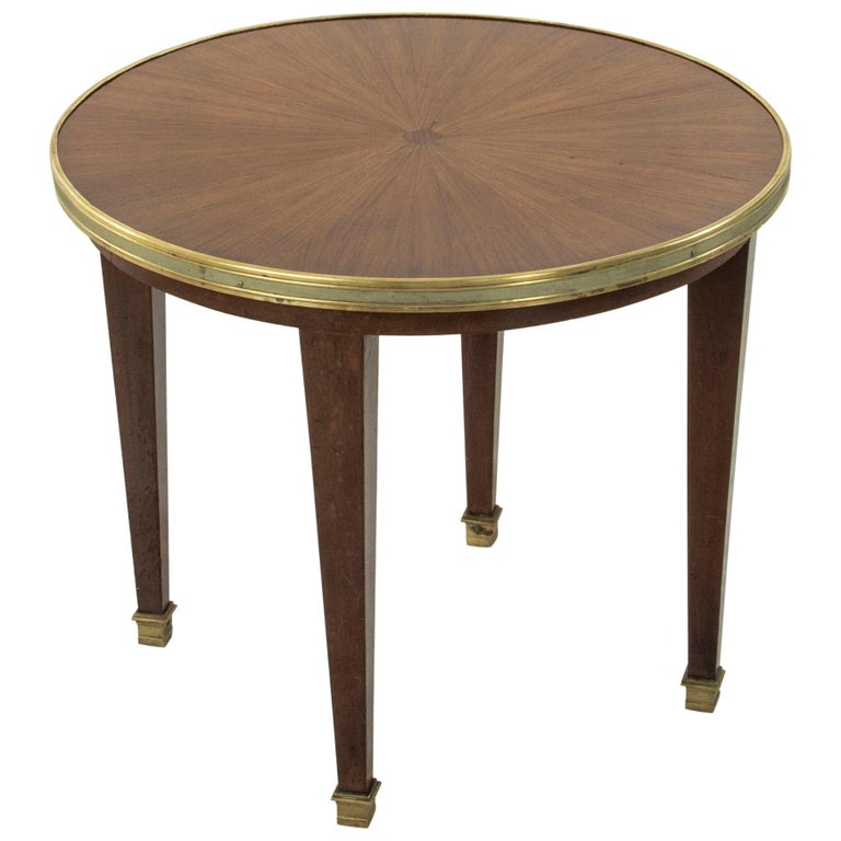 Early 20th Century French Louis XVI Style Walnut Marquetry Sunburst Side Table For Sale