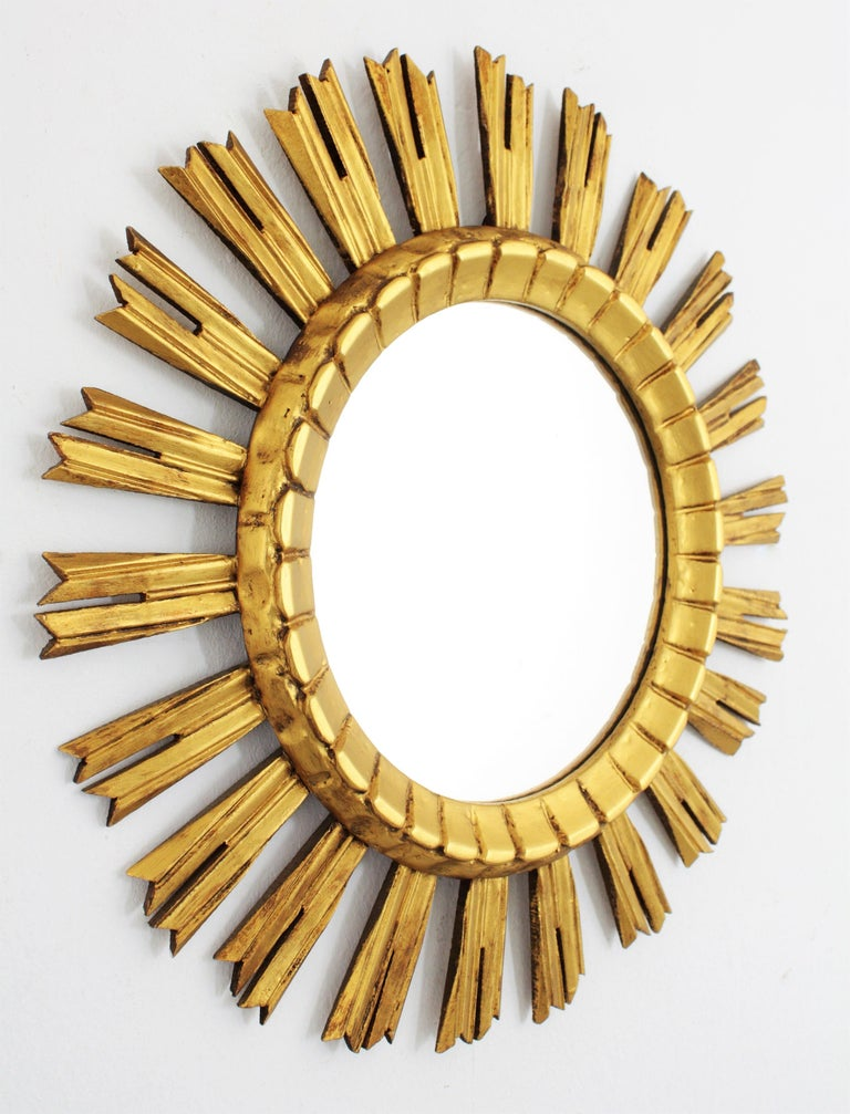 Gesso Early 20th Century French Medium Sized Baroque Style Giltwood Sunburst Mirror For Sale