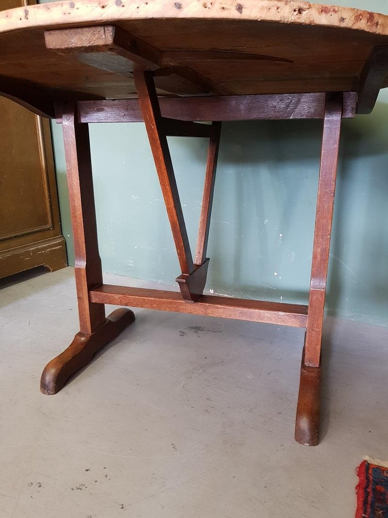 Early 20th Century French Nutwood Wine Table/ Table Vigneron For Sale 1