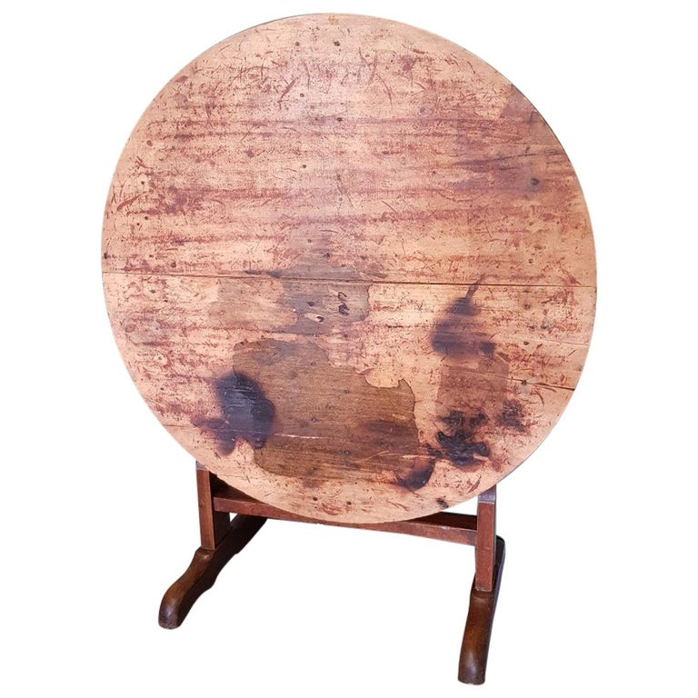 Early 20th Century French Nutwood Wine Table/ Table Vigneron For Sale