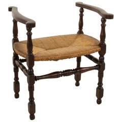 Early 20th Century French Oak Bench or Banquette with Rush Seat