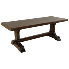 Early 20th Century French Oak Monastery Table, Trestle Dining Table, circa 1910