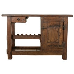 Early 20th Century French Oak Work Bench, Console Table, Sofa Table, Dry Bar