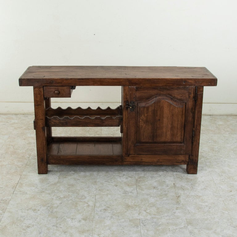 Rustic Early 20th Century French Oak Workbench, Console, Sofa Table, Dry Bar