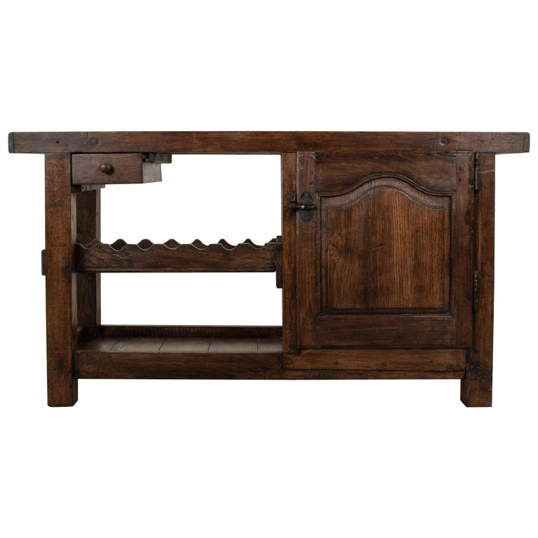 Early 20th Century French Oak Workbench, Console, Sofa Table, Dry Bar