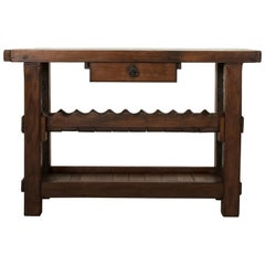 Early 20th Century French Oak Workbench, Console, Sofa Table, Wine Rack, Dry Bar
