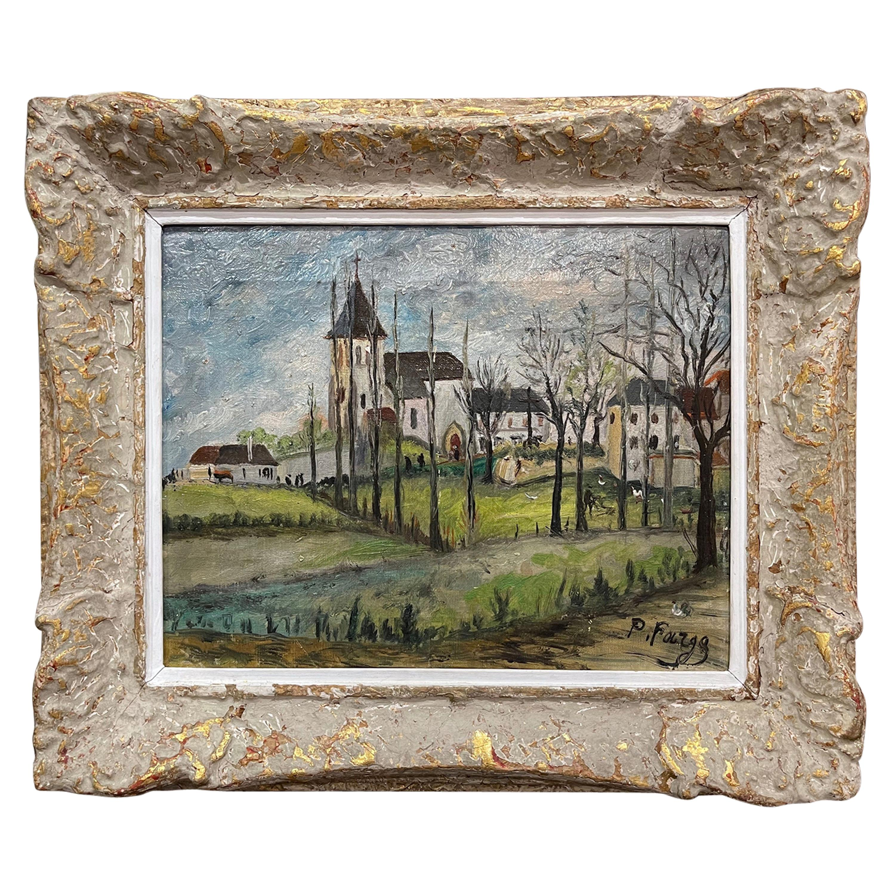 Early 20th Century French Oil on Canvas Painting Signed P. Farge