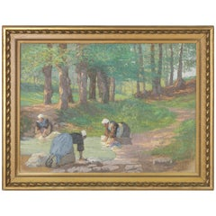 Early 20th Century French Oil on Canvas with Laundresses in Giltwood Frame
