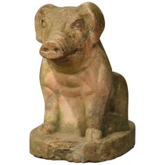 Early 20th Century French Outdoor Patinated Stone Pig Sculpture