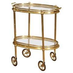 Early 20th Century, French Oval Brass Dessert Table or Bar Cart on Wheels