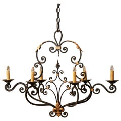 Early 20th Century French Painted and Gilt Iron Chandelier with Fleur-de-Lys