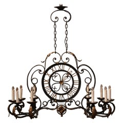 Early 20th Century French Painted and Gilt Ten-Light Clock Chandelier