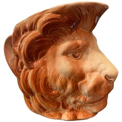 Early 20th Century French Painted Barbotine Ceramic Lion Head Pitcher