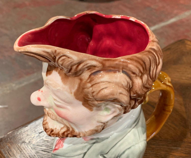 Hand-Crafted Early 20th Century French Painted Ceramic Barbotine Figure Pitcher by Onnaing For Sale
