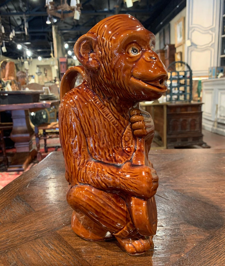 Hand-Crafted Early 20th Century French Painted Ceramic Barbotine Monkey Pitcher For Sale