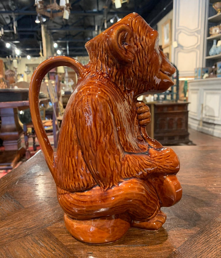 Early 20th Century French Painted Ceramic Barbotine Monkey Pitcher For Sale 2