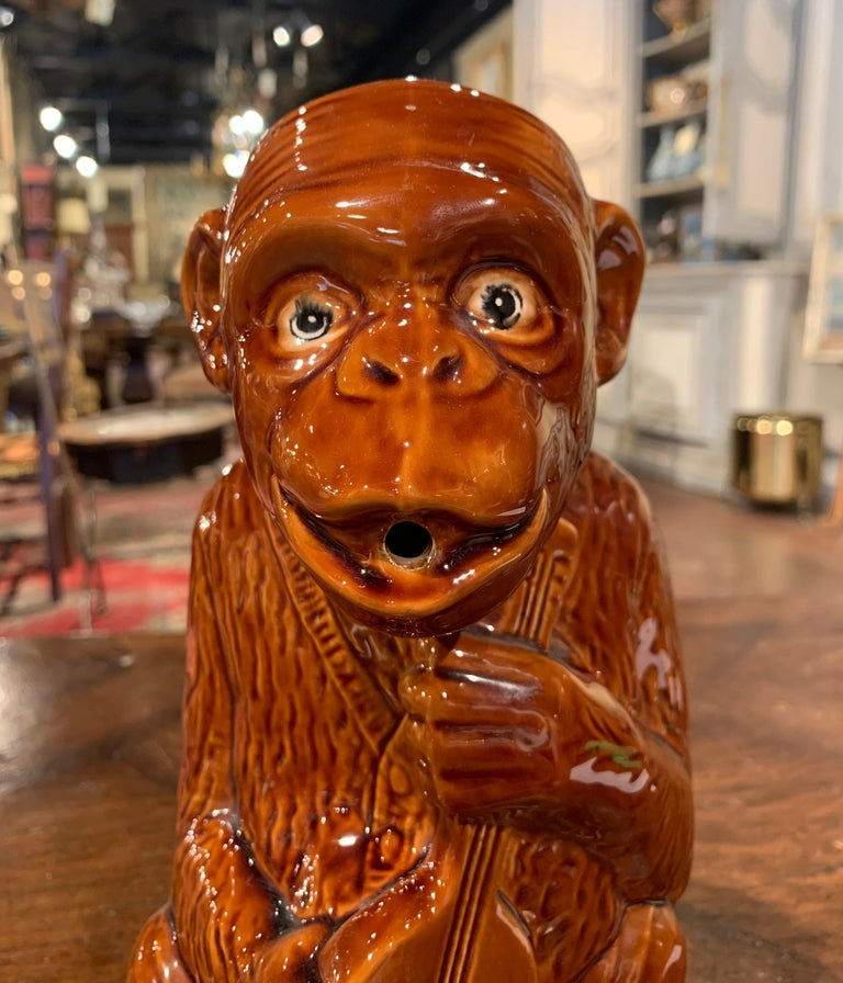 Early 20th Century French Painted Ceramic Barbotine Monkey Pitcher For Sale 3