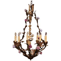 Early 20th Century French Painted Metal Chandelier with Porcelain Flowers
