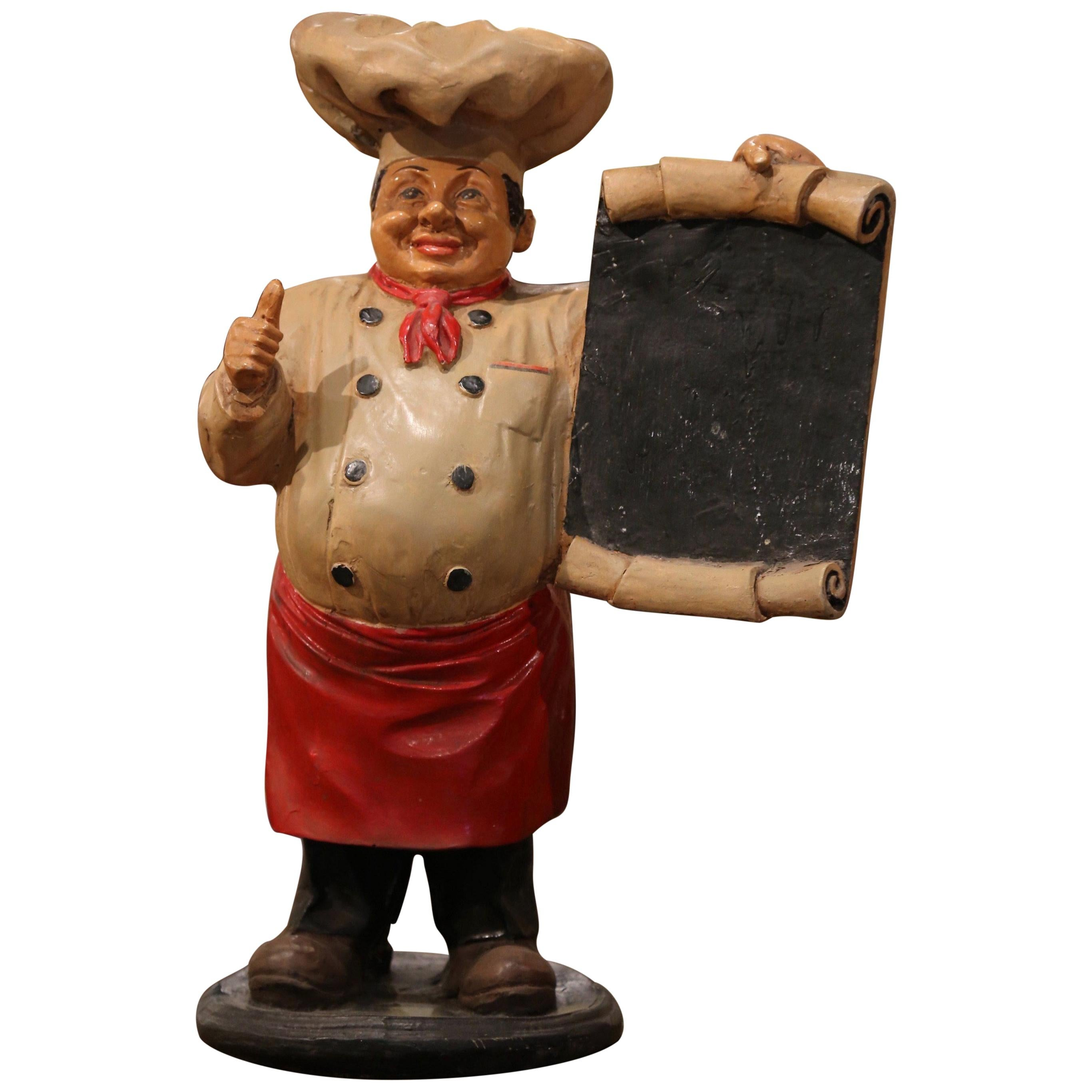 Early 20th Century French Painted Paper Mâché Restaurant Chef Sculpture