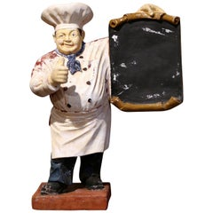 Early 20th Century French Painted Papier Mâché Restaurant Chef Cook Sculpture