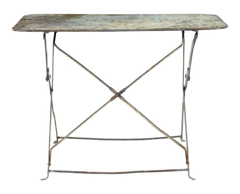 Rustic Early 20th Century French Painted Steel Garden Table For Sale