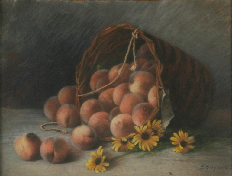 This is a beautiful pastel painting from France. The painting is signed and dated lower right. The painting shows a large basket with an abundance of peaches, with some yellow daisies in the foreground. The sober gray background makes the colorful