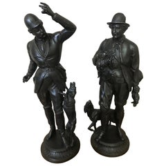 Early 20th Century French Pair of Metal Hunter Sculpture, 1900s