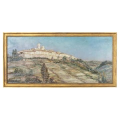 Early 20th Century French Panorama Oil Painting, Giltwood Frame