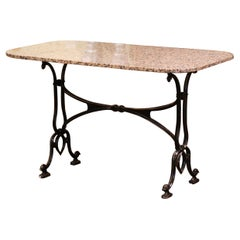 Early 20th Century French Parisian Painted Iron and Granite-Top Bistrot Table