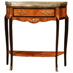 Early 20th Century French Parquetry and Brass Console Table with Marble Top