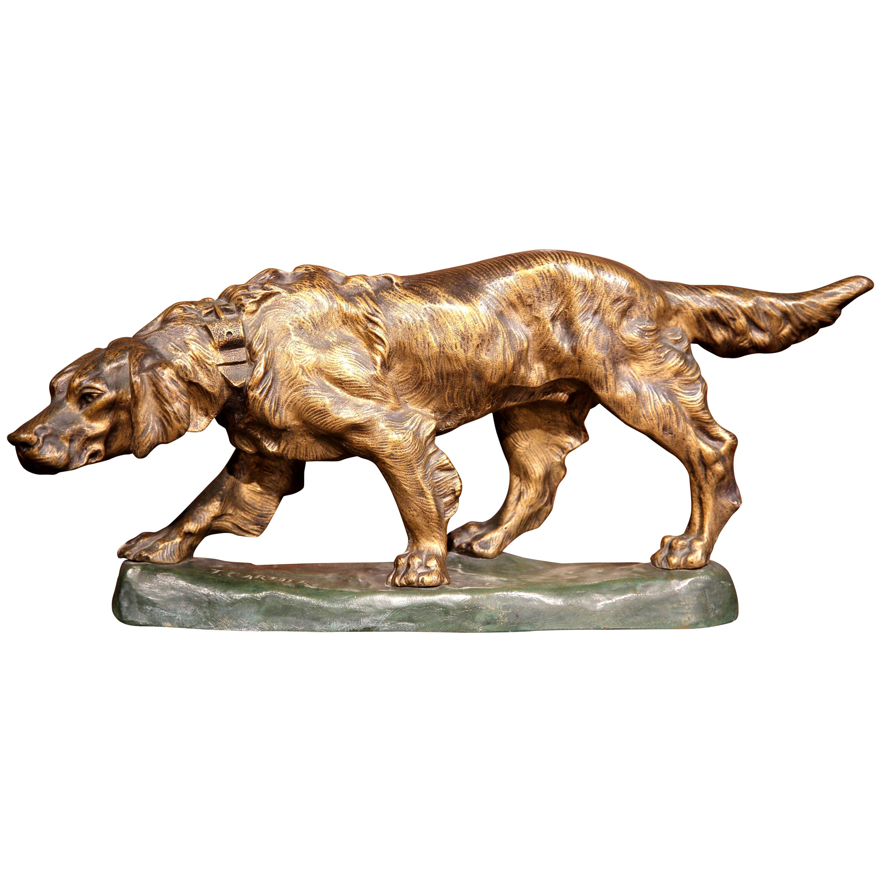 Early 20th Century French Patinated Bronze Dog Sculpture Signed T. Cartier