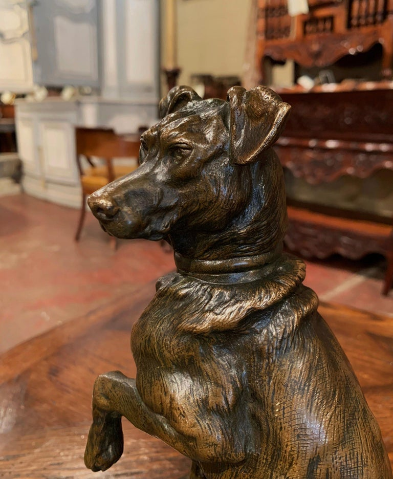 Early 20th Century French Patinated Bronze Hunt Dog Sculpture Signed T. Cartier 6