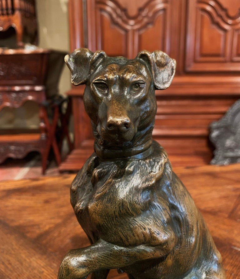 Early 20th Century French Patinated Bronze Hunt Dog Sculpture Signed T. Cartier 2
