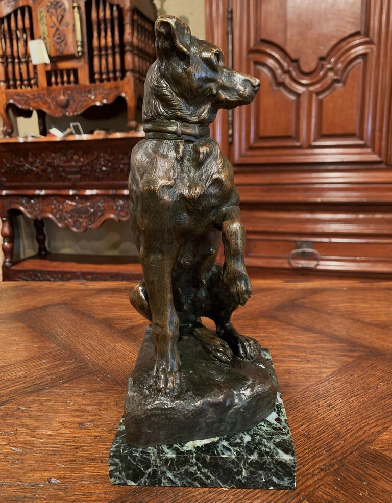 Early 20th Century French Patinated Bronze Hunt Dog Sculpture Signed T. Cartier 3