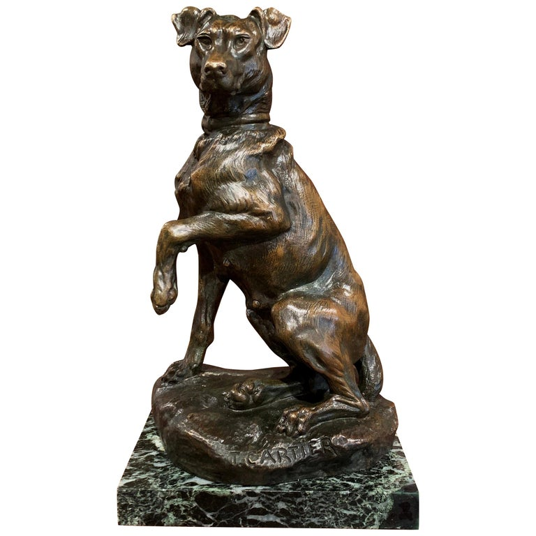 Early 20th Century French Patinated Bronze Hunt Dog Sculpture Signed T. Cartier