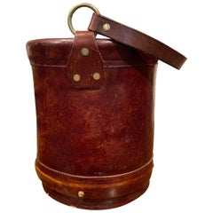 Early 20th Century French Patinated Brown Leather Basket with Handle