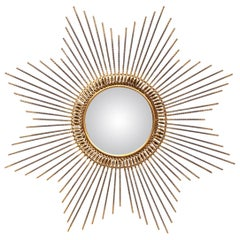 Early 20th Century French Patinated Metal Sunburst Mirror