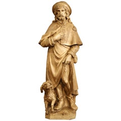 Early 20th Century French Patinated Terracotta Sculpture of Shepherd with Dog